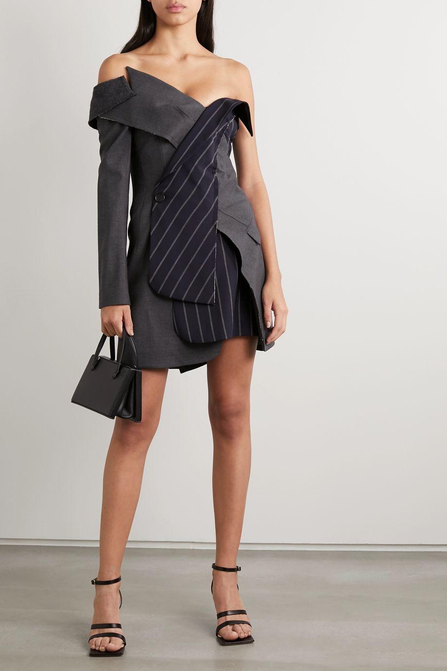 Monse Off-the-shoulder paneled wool-blend mini dress