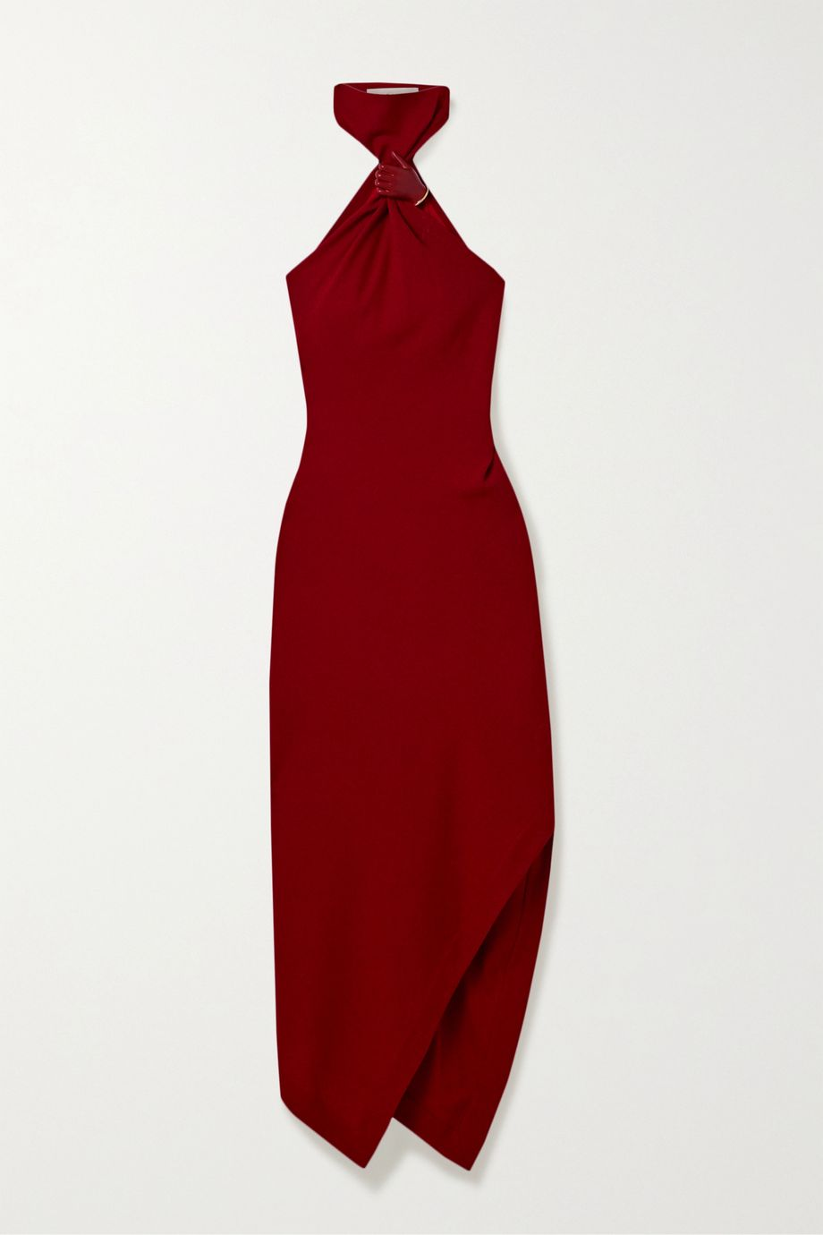 Monse Asymmetric embellished wool-crepe halterneck dress
