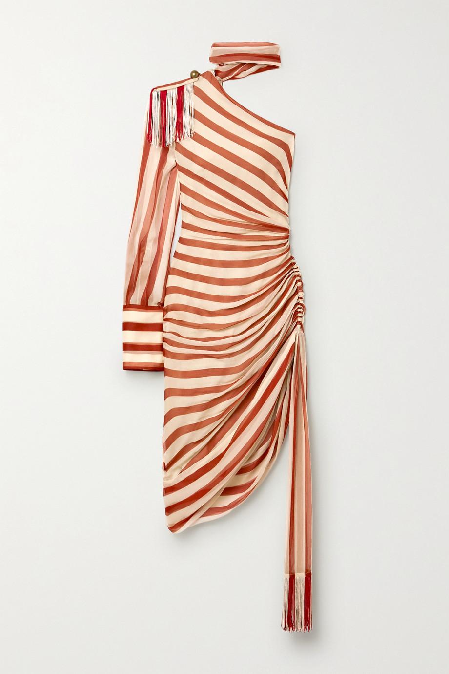 Monse One-sleeve tie-neck fringed striped plissé silk-chiffon dress