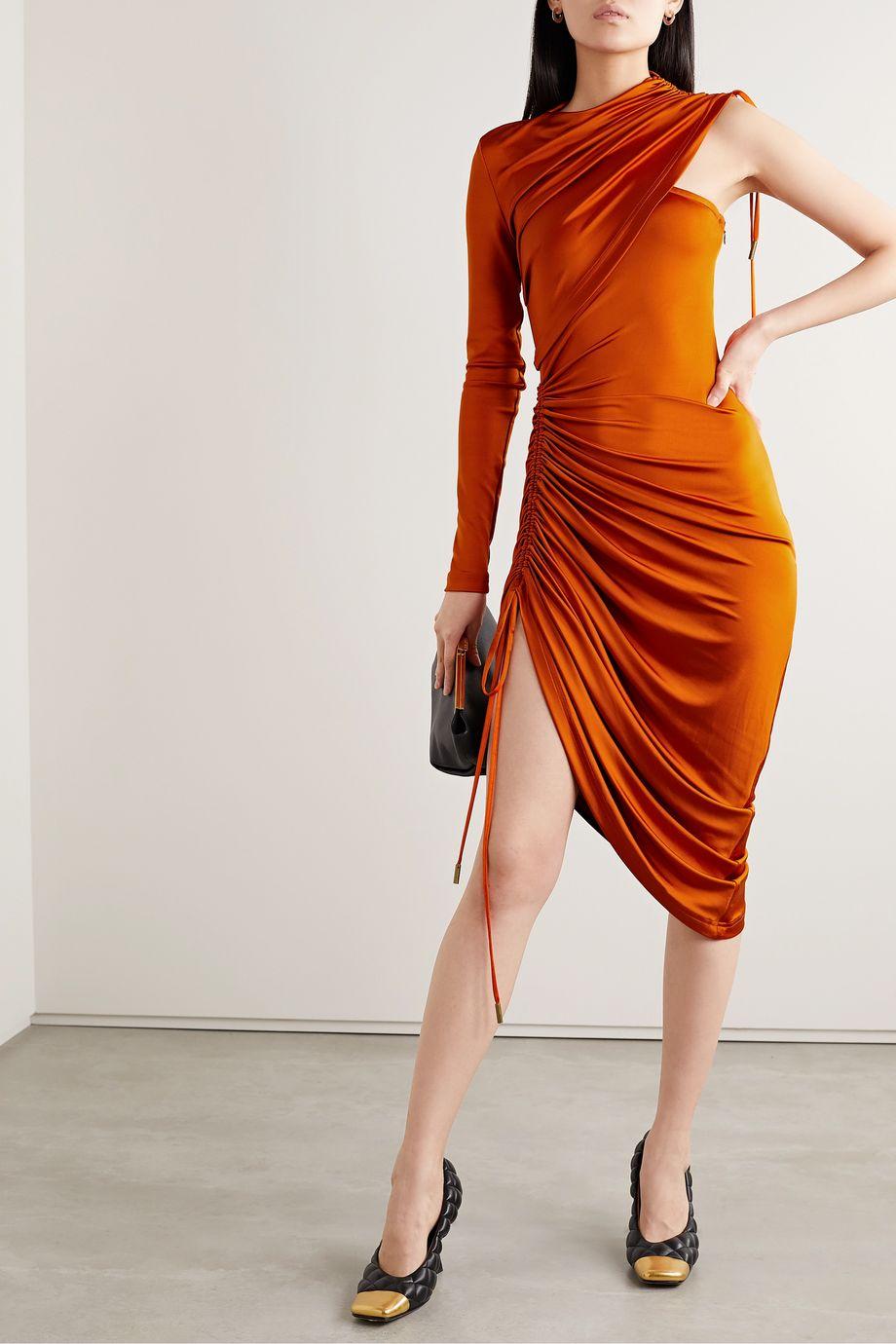 Monse One-sleeve asymmetric ruched stretch-jersey midi dress