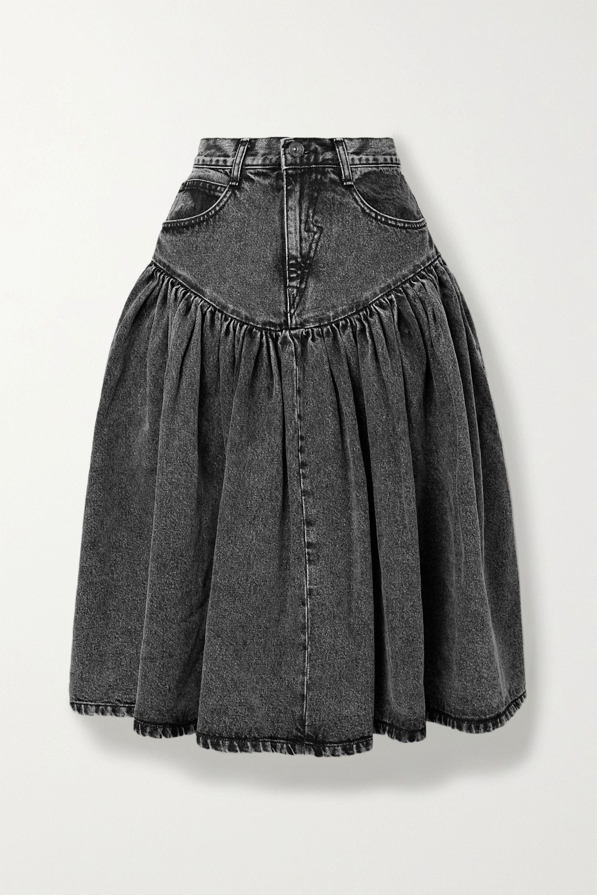 Pushbutton Acid-wash denim midi skirt