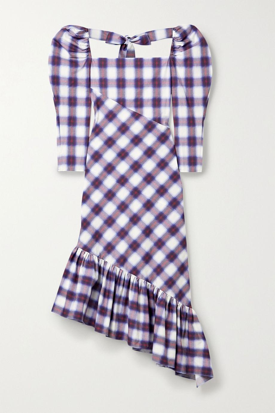 Pushbutton Asymmetric ruffled checked cotton-poplin midi dress