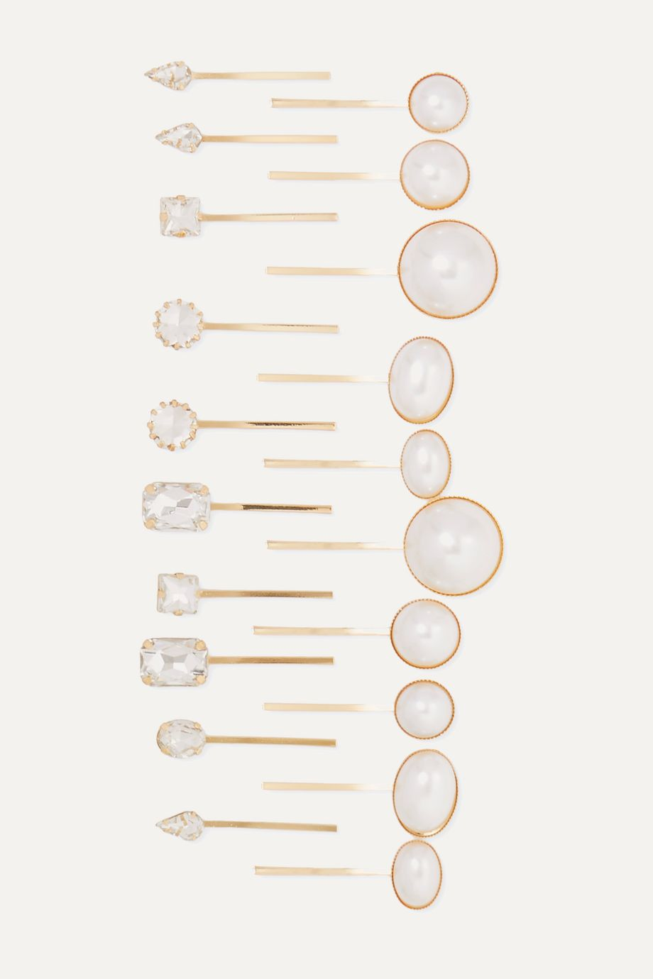 LELET NY + The Haute Pursuit set of 20 gold-tone, crystal and faux pearl hair slides