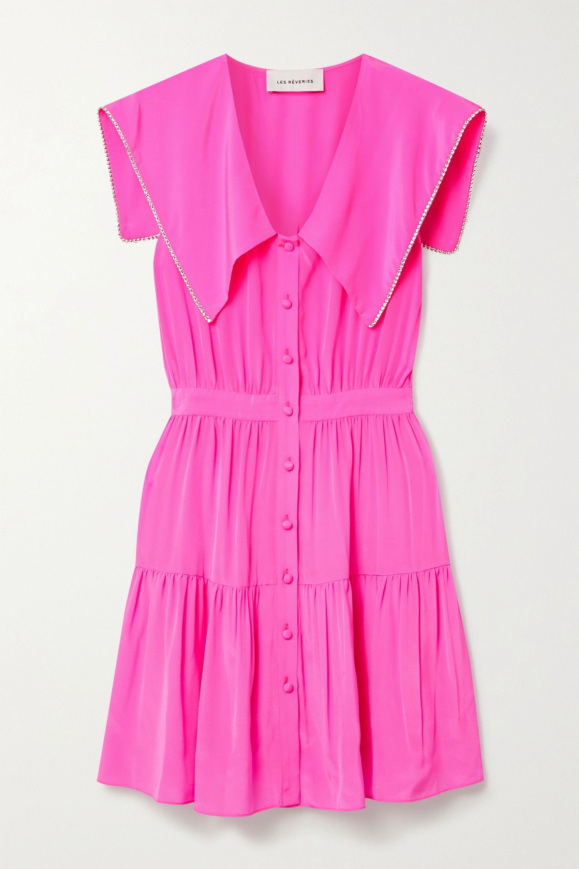 Les Rêveries Tiered crystal-embellished neon silk crepe de chine mini dress