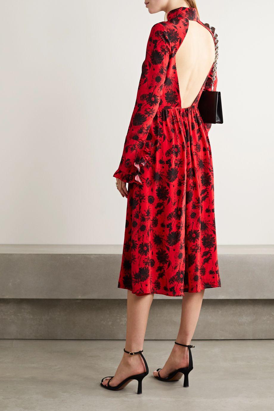 Les Rêveries Open-back ruffle-trimmed floral-print silk crepe de chine midi dress