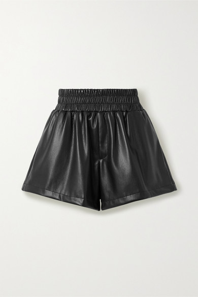 Les Rêveries Faux Leather Shorts In Black