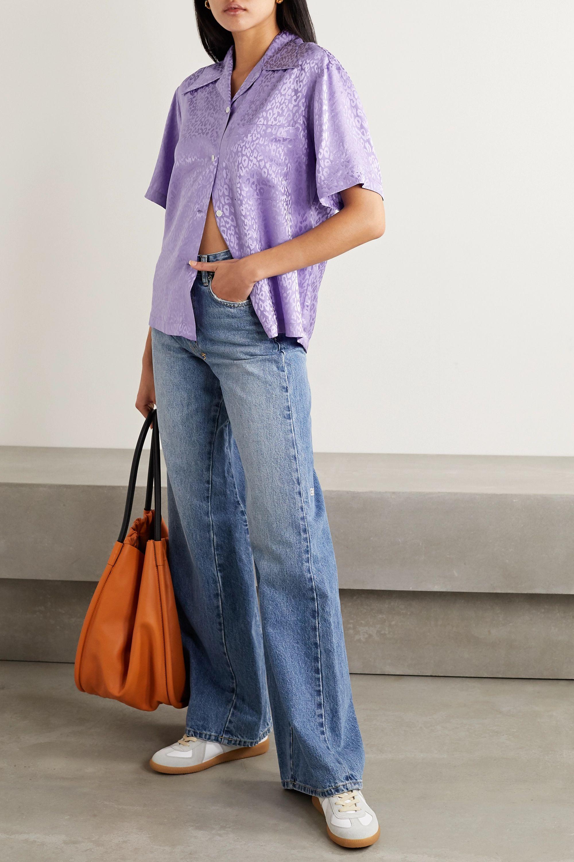 Les Rêveries Silk-satin jacquard shirt