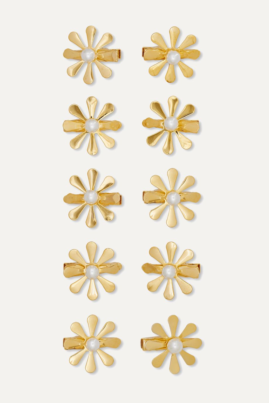 LELET NY + The Haute Pursuit set of 10 gold-tone and faux pearl hair slides