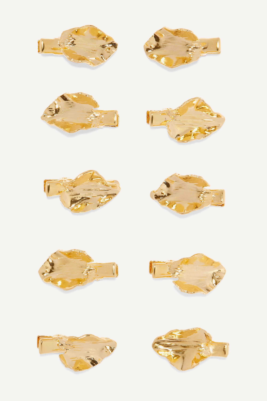 LELET NY + The Haute Pursuit set of 10 gold-tone hair slides