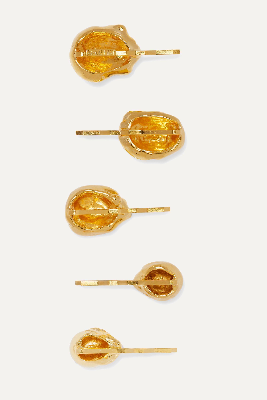 LELET NY + The Haute Pursuit set of five gold-tone hair slides