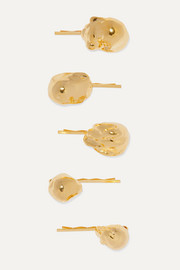 + The Haute Pursuit set of five gold-tone hair slides