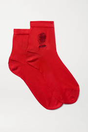 Maria La Rosa Gemini embroidered silk-blend socks
