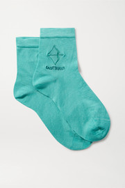 Maria La Rosa Sagittarius embroidered silk-blend socks