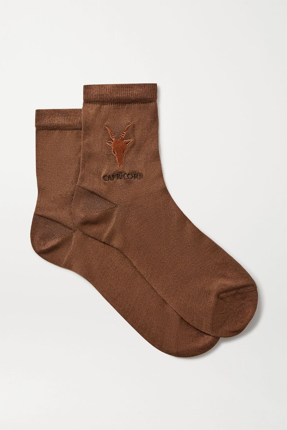 Maria La Rosa Capricorn embroidered silk-blend socks