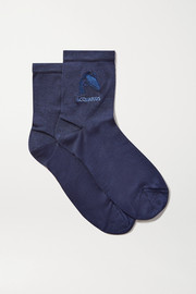 Maria La Rosa Aquarius embroidered silk-blend socks