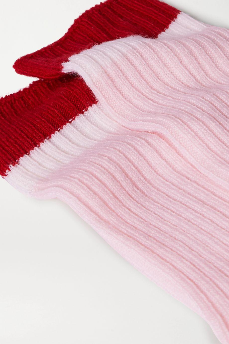 Maria La Rosa Cross Fit striped ribbed merino wool-blend socks
