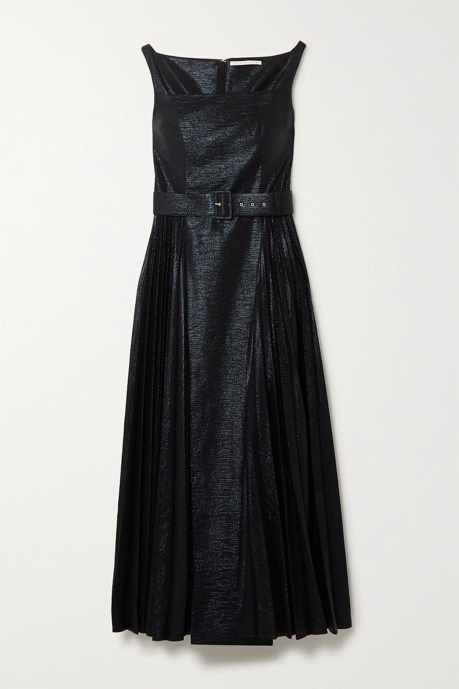 Emilia Wickstead Ingrid pleated metallic coated-jersey midi dress