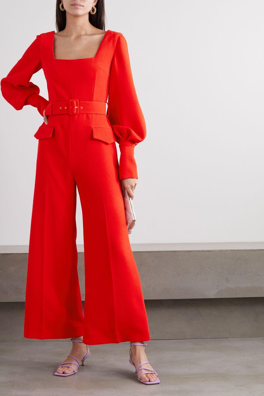 Emilia Wickstead Patrice belted crepe jumpsuit