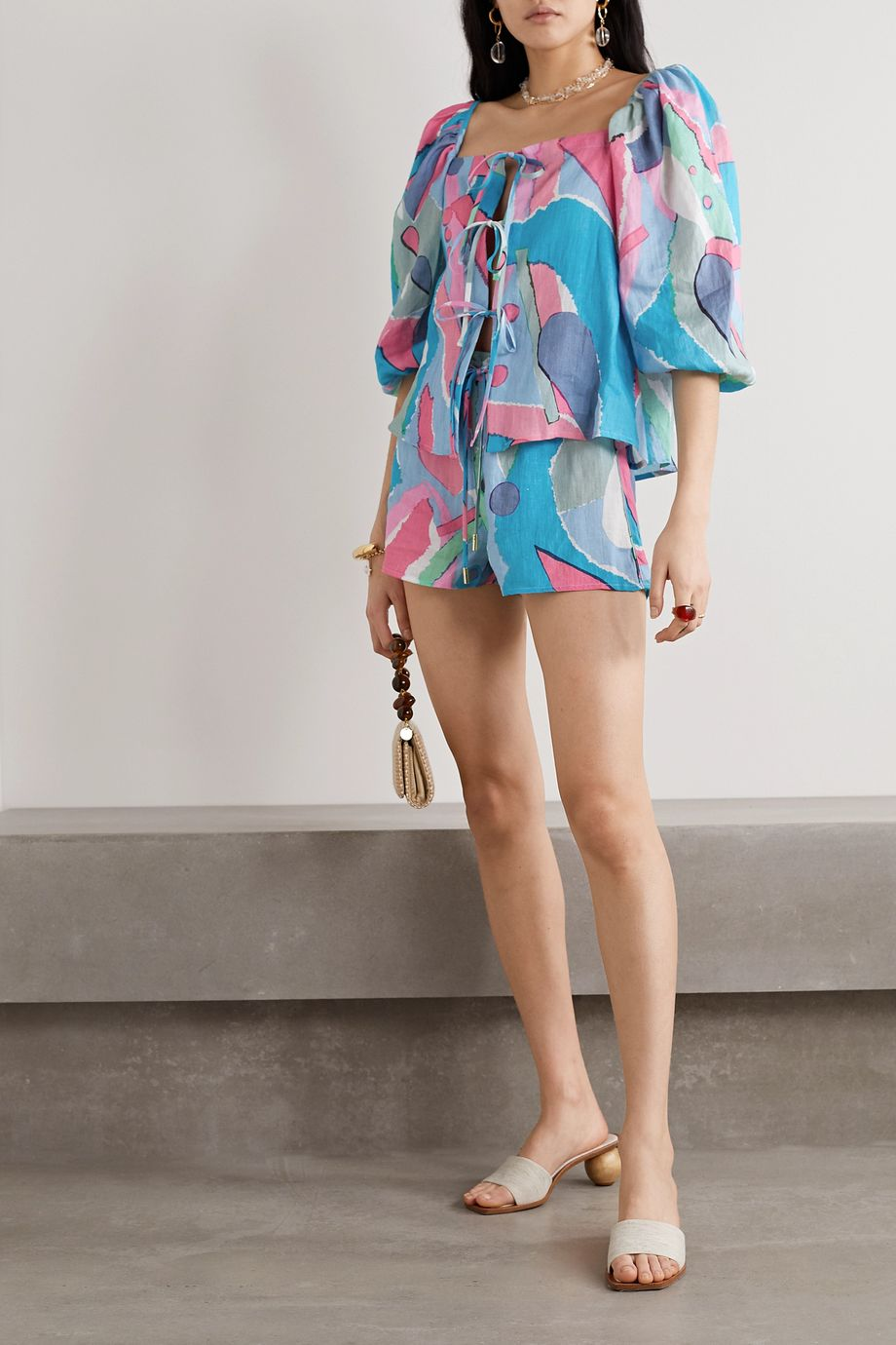Cult Gaia Aurel lace-up printed linen top