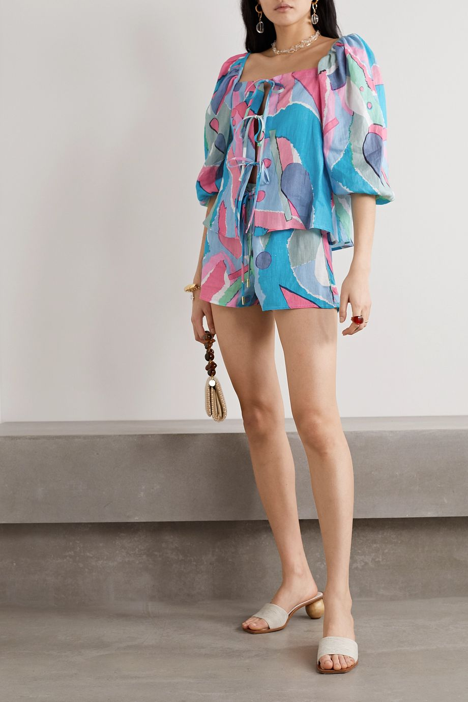 Cult Gaia Sissi printed linen shorts