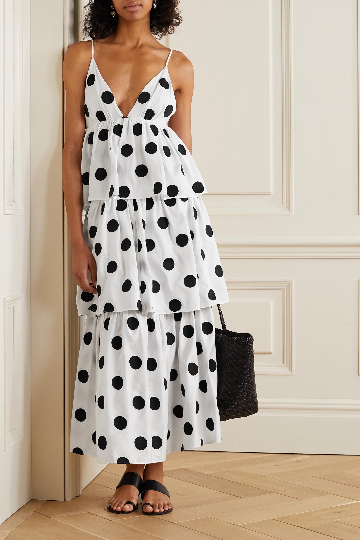 White + NET SUSTAIN Bari tiered polka-dot organic cotton-voile maxi dress |  Mara Hoffman | NET-A-PORTER