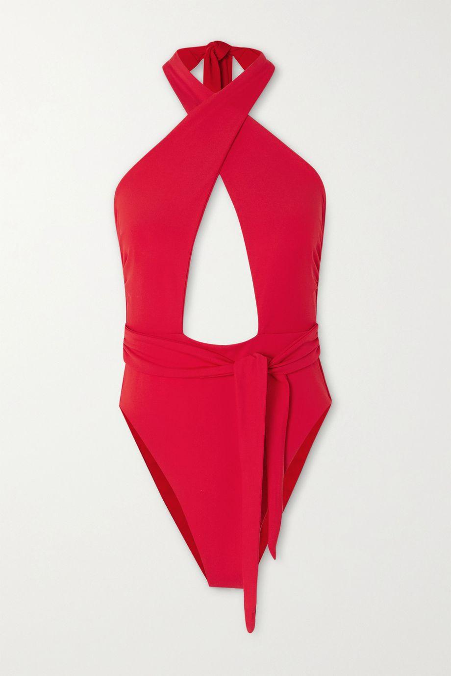 Mara Hoffman Roni tie-front cutout halterneck swimsuit