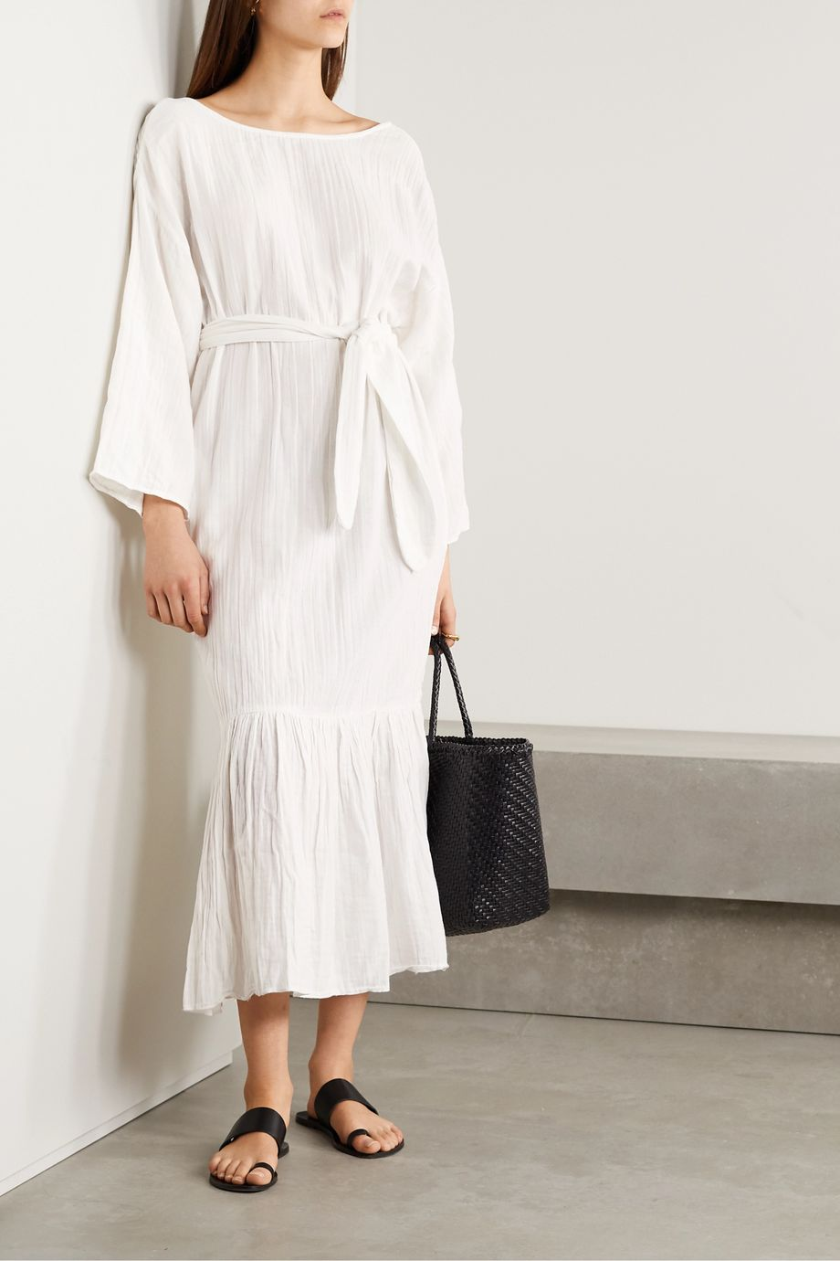 Mara Hoffman + NET SUSTAIN Augusta crinkled organic cotton-gauze maxi dress