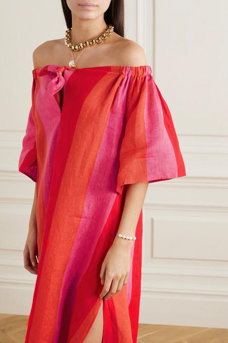 Kamala off-the-shoulder striped linen maxi dress