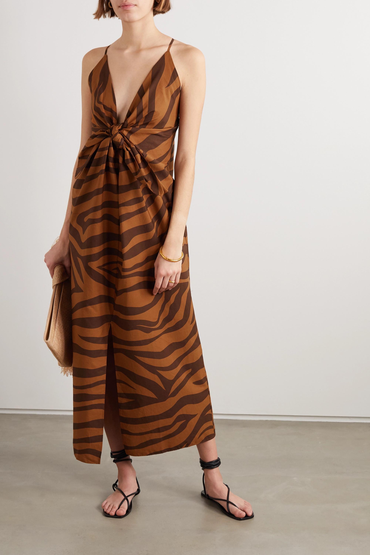 Mara Hoffman + NET SUSTAIN Lolita knotted tiger-print organic cotton maxi dress
