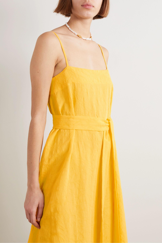 Mara Hoffman + NET SUSTAIN Philomena belted organic cotton and linen-blend dress