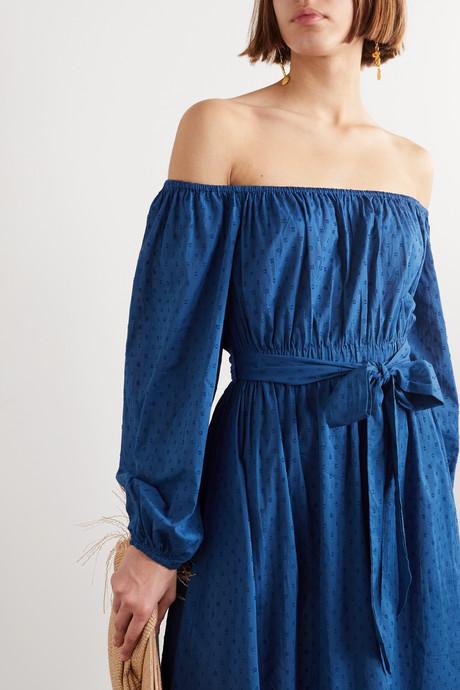 + NET SUSTAIN Malika off-the-shoulder fil coupé organic cotton maxi dress