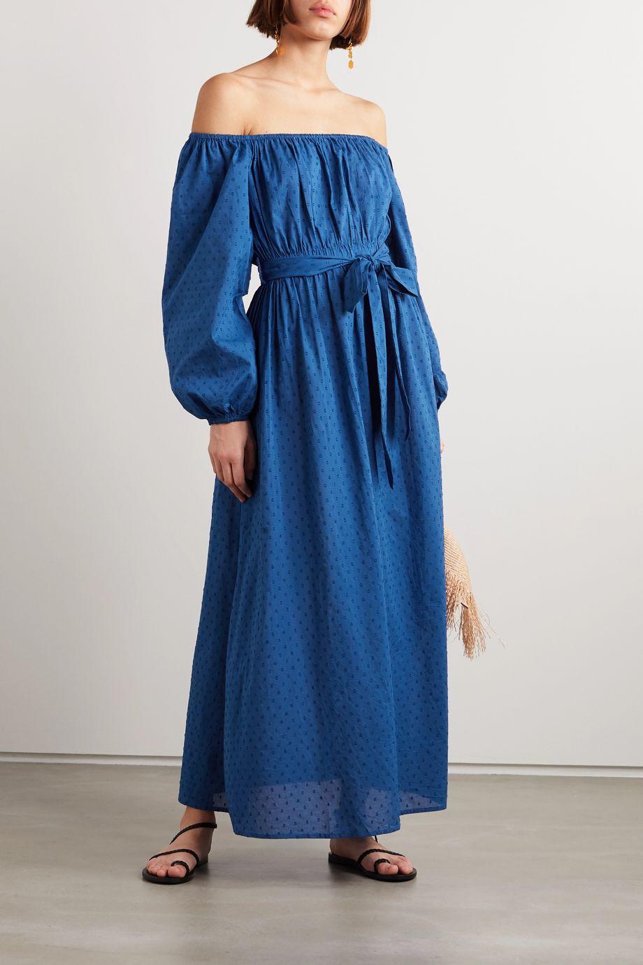 Mara Hoffman + NET SUSTAIN Malika off-the-shoulder fil coupé organic cotton maxi dress