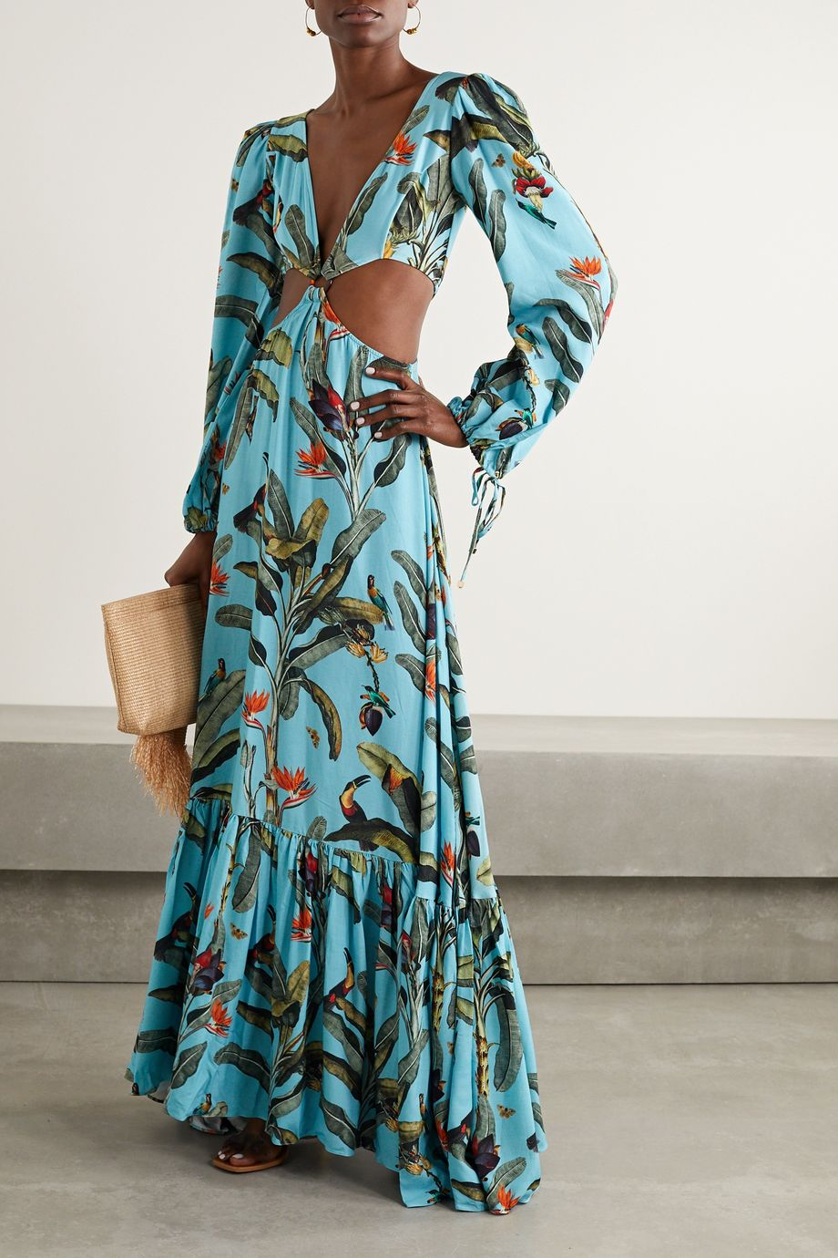 PatBO Cutout printed voile maxi dress