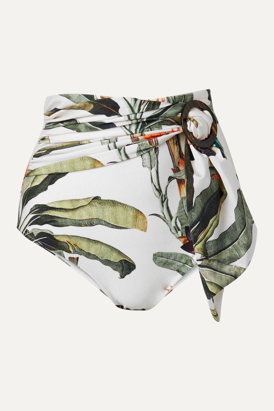 PatBO Belted printed bikini briefs