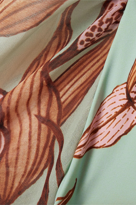 PatBO Cutout printed chiffon-trimmed swimsuit