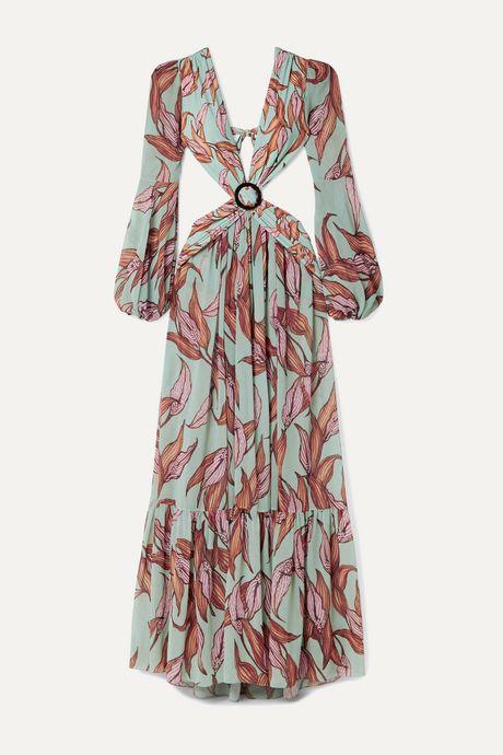 Sky blue Cutout printed chiffon and stretch-jersey maxi dress | PatBO eEQivz