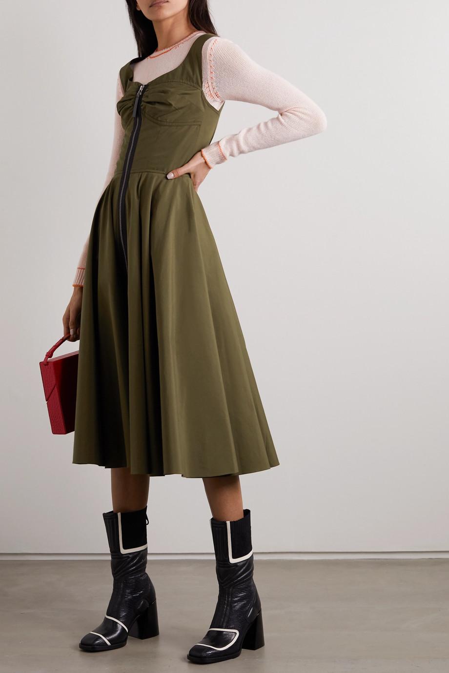 Marni Leather-trimmed cotton-poplin midi dress
