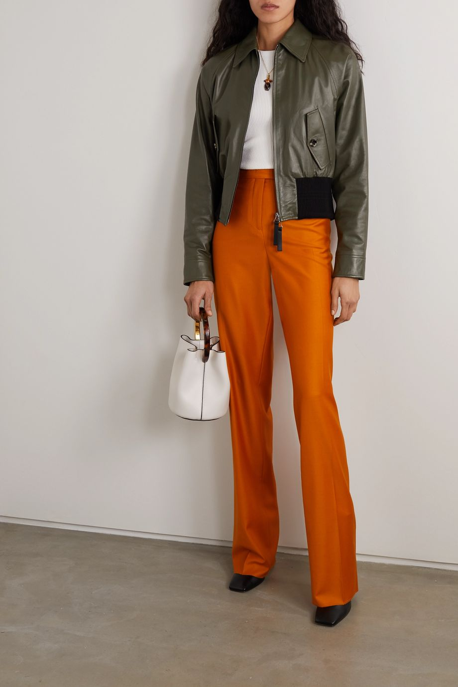 Marni Leather and cotton-blend bomber jacket
