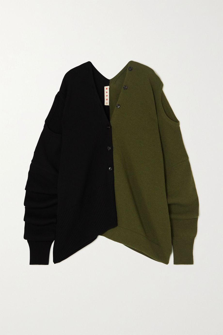 Marni 多种穿法双色羊毛开襟衫