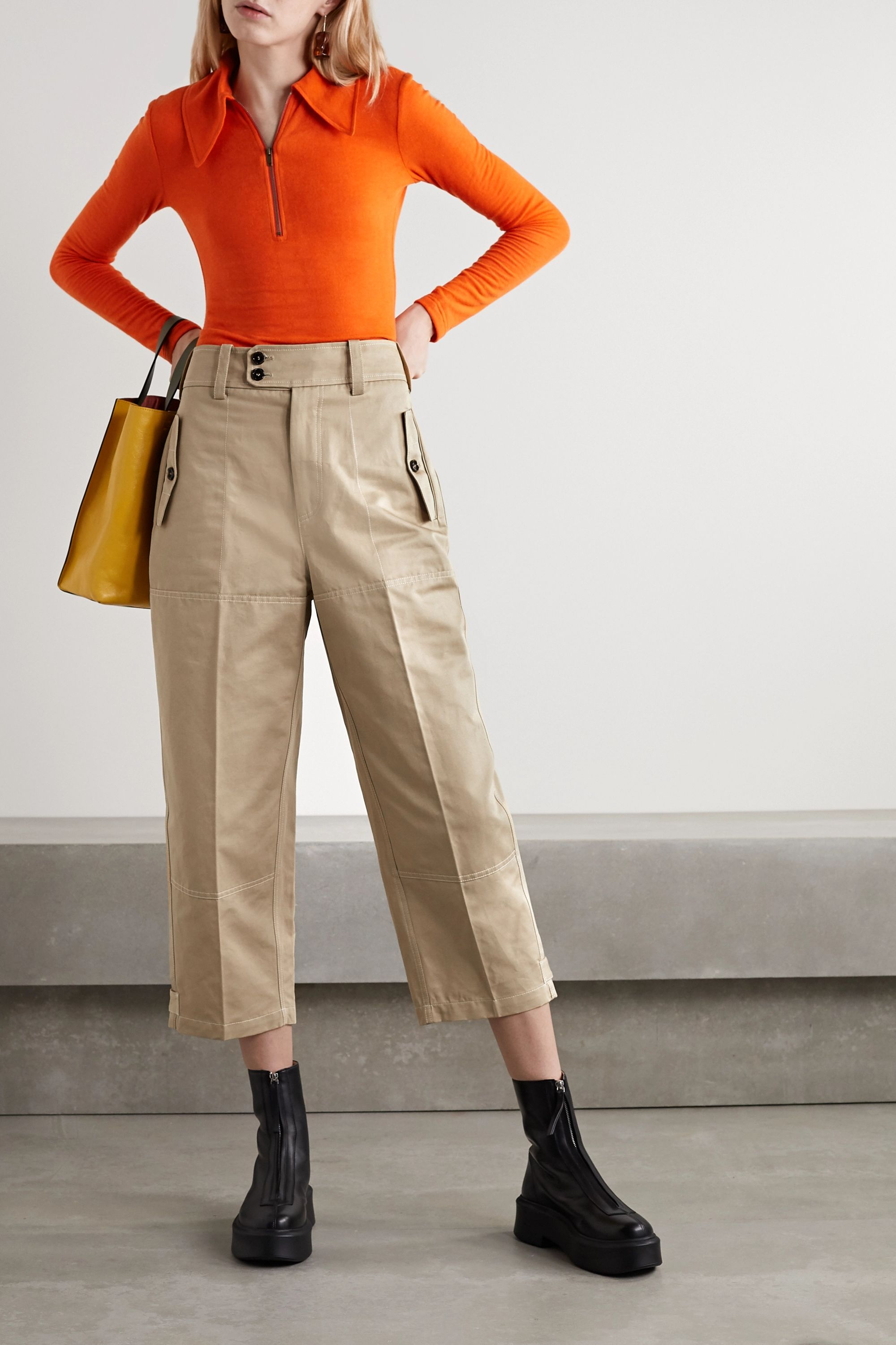 Marni Cropped cotton and linen-blend drill straight-leg pants