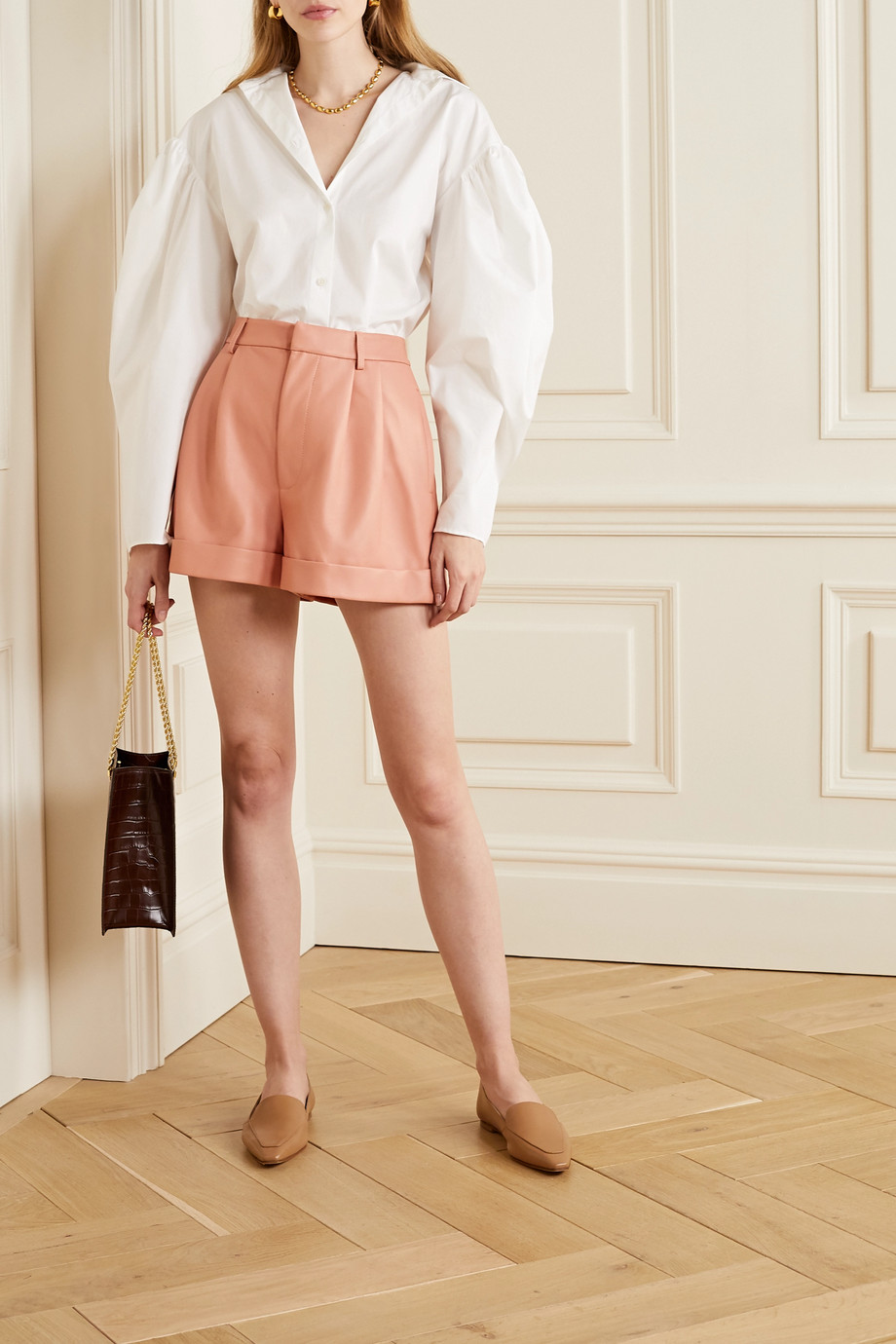 Alice + Olivia Conry pleated leather shorts