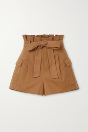 Laurine belted cotton-blend twill shorts