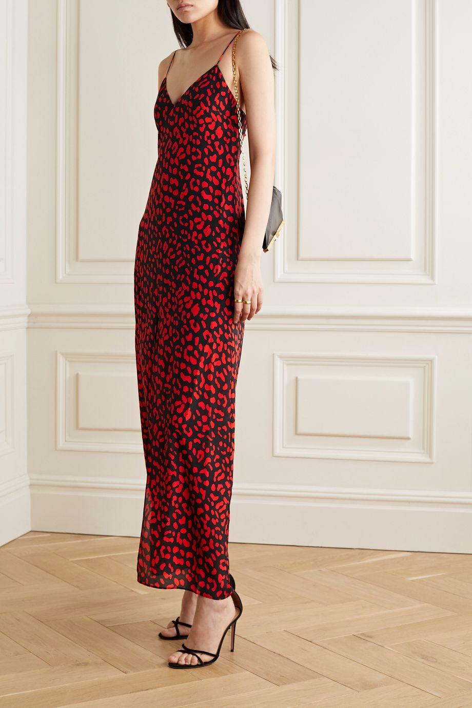 Alice + Olivia Robe longue en soie à imprimé léopard Candice