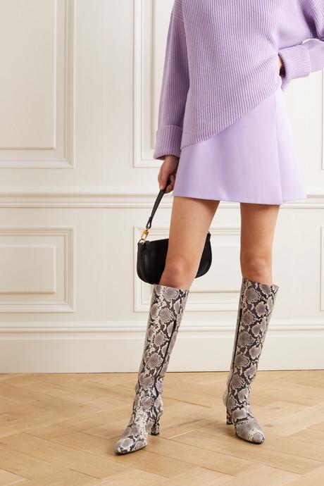 Sherilyn wrap-effect grain de poudre mini skirt