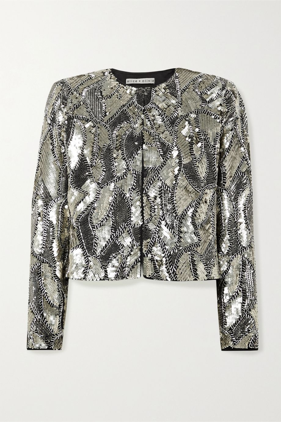 Alice + Olivia Kidman cropped sequined silk jacket