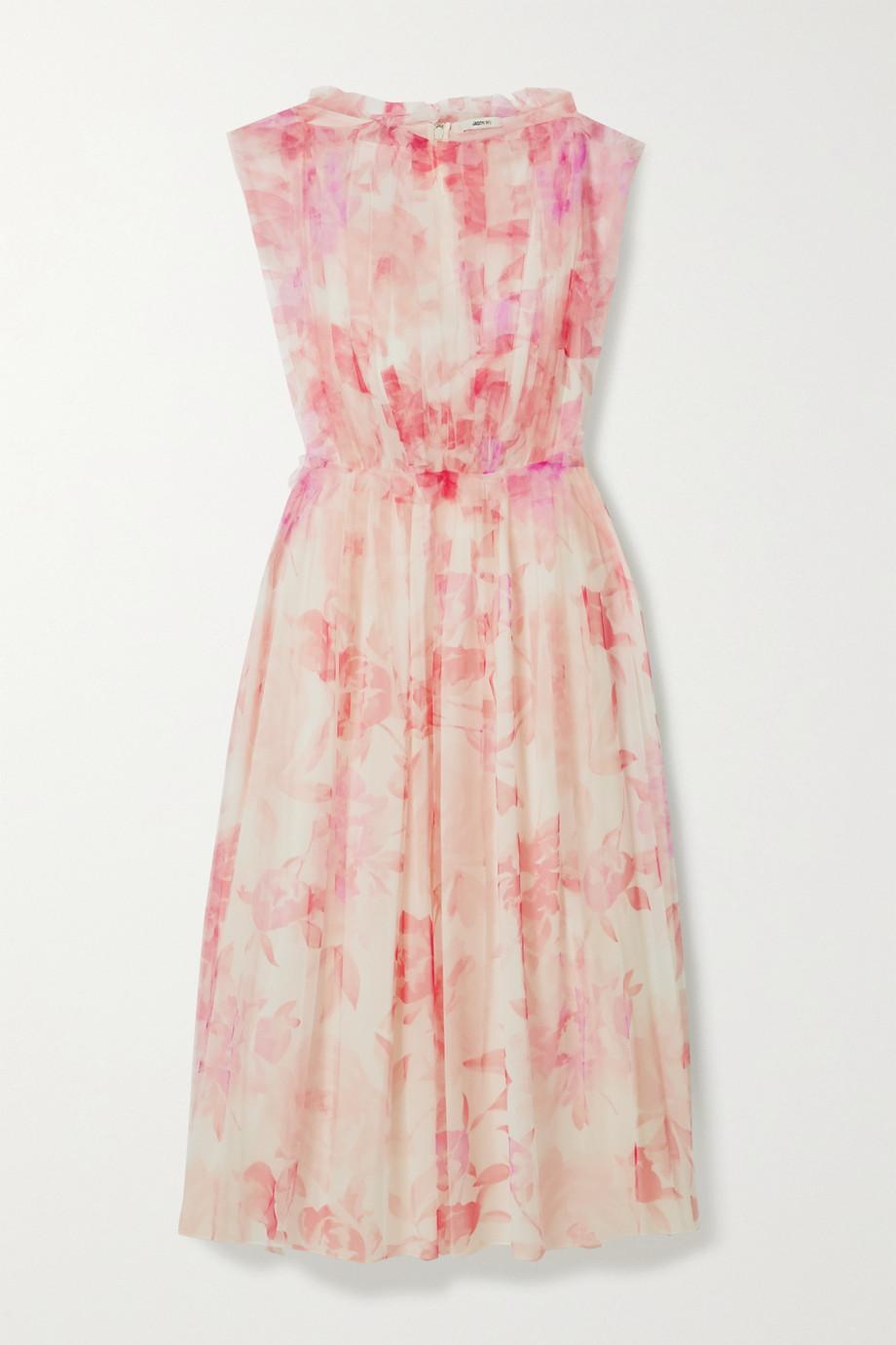 Jason Wu | Ruffled pleated floral-print tulle midi dress | NET-A-PORTER.COM
