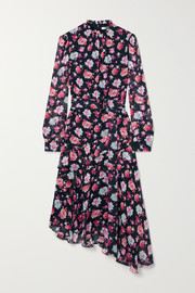 Jason Wu Belted asymmetric ruffled floral-print silk-georgette midi dress