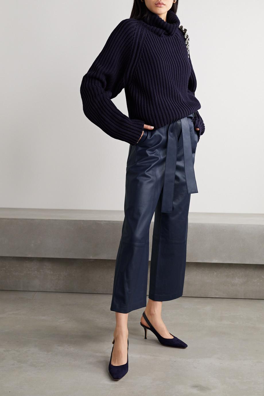 Jason Wu Cropped leather wide-leg pants