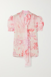 Pussy-bow floral-print crepon blouse