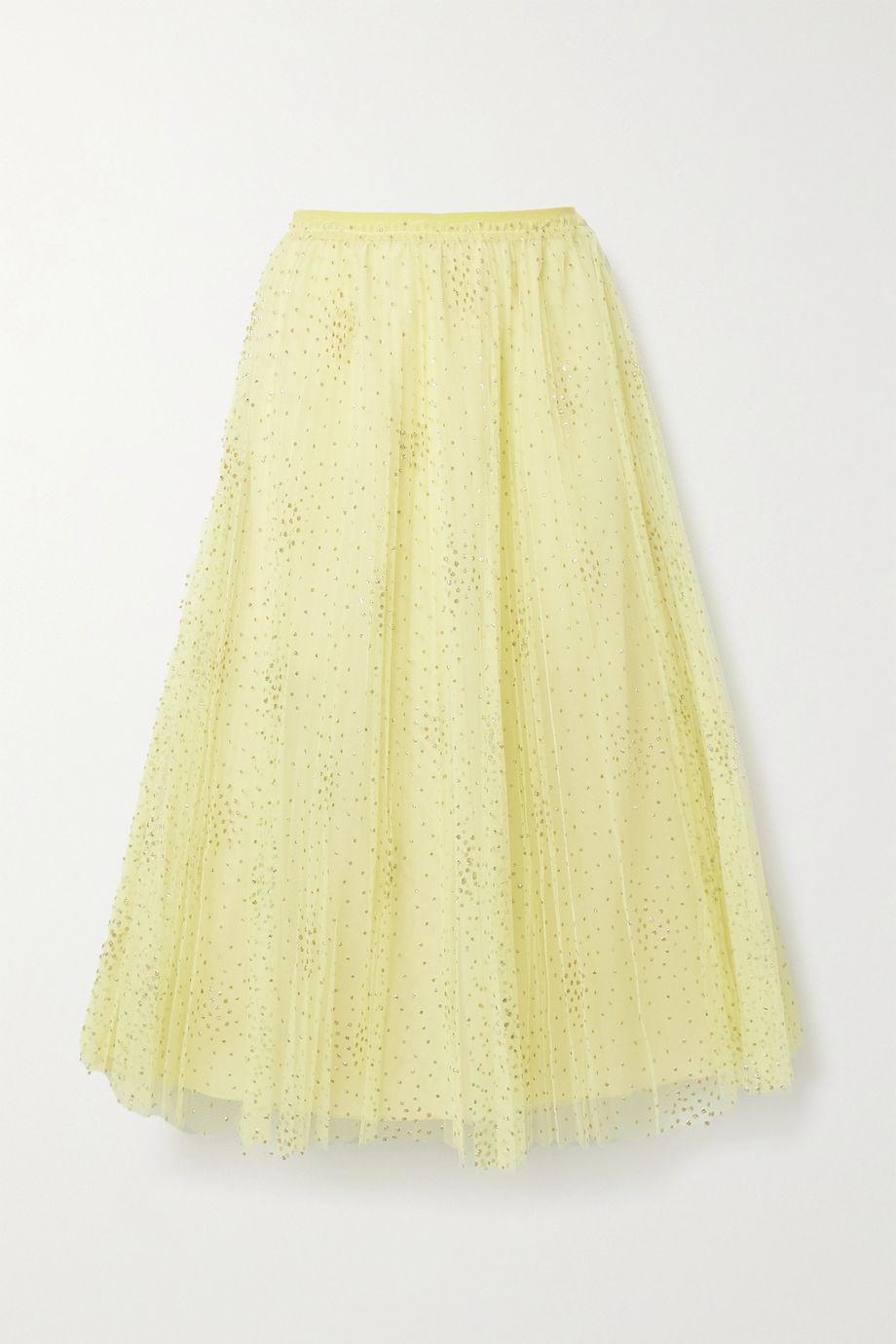 REDValentino Glittered polka-dot pleated tulle midi skirt
